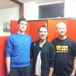 Dave Watkins (r) with guests Tobi and Andy Fraser from Free