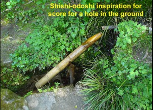 Shishi-odoshi inspiration for score for a hole in the ground
